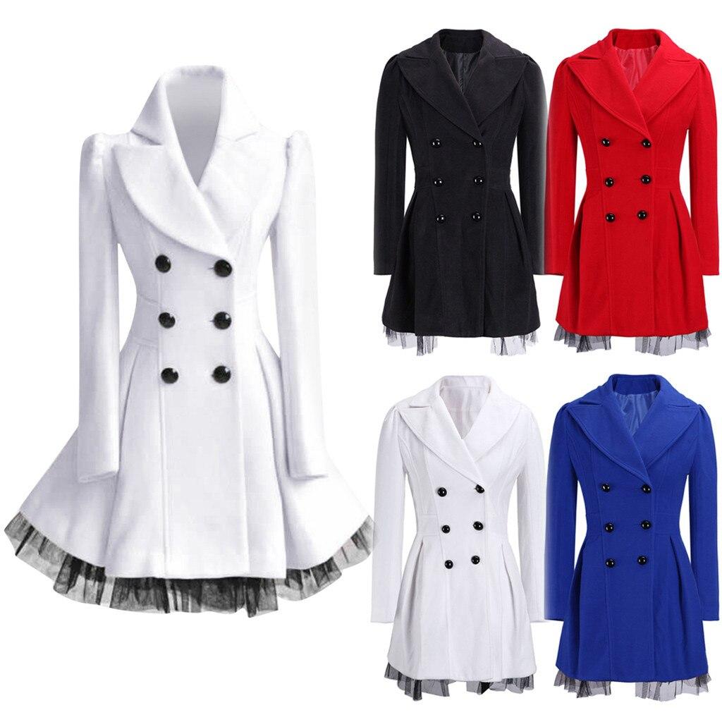 Blazer Women Winter Coat Women пиджак женский Flare Double Breasted Trench Jacket Ladies Long Lapel Outwear Peacoat Free Ship Z4
