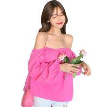 Корейские женские блузки с пышными рукавами свободная блузка