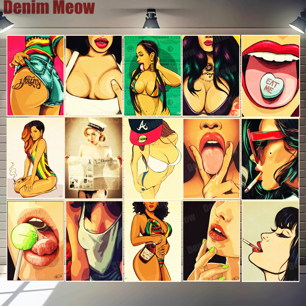 Hot Girls Vintage Poster Metal Tin Signs Bar Club Casino Pub Home Decor Eat Me Wall Art Painting Pin-up Girl Retro Plaque MN145