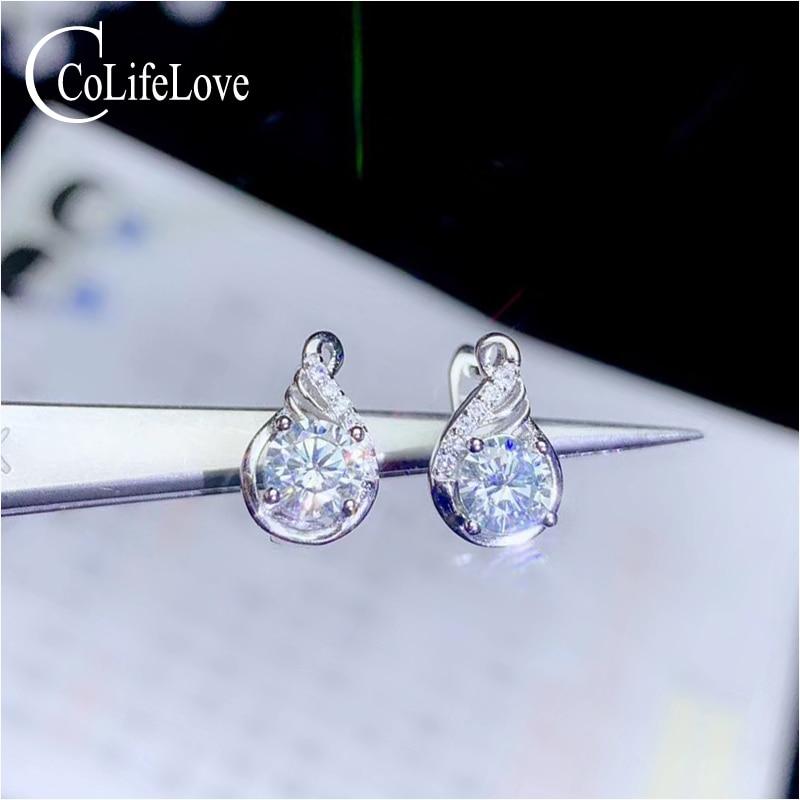 CoLife bijoux D couleur Moissanite boucles d'oreilles pour bureau femme 5mm rond Moissanite boucles d'oreilles 925 argent Moissanite bijoux