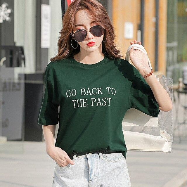 Rouge à manches courtes T-shirt femmes 2020 vêtements dété nouveau Style femmes robe style coréen ample-Fit été pur coton demi manches