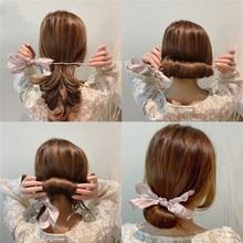 Элегантная Женская повязка на голову с бантиком и пончиками, волшебная заколка для волос, сделай сам, инструмент для прически, сладкий франц...