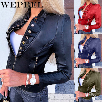 WEPBEL Casual Motorcycle Faux Leather Jacket Women's Button Pockets Zippers Slim PU Short Jacket multi zippers genuine leather jacket women streetwear motorcycle 100