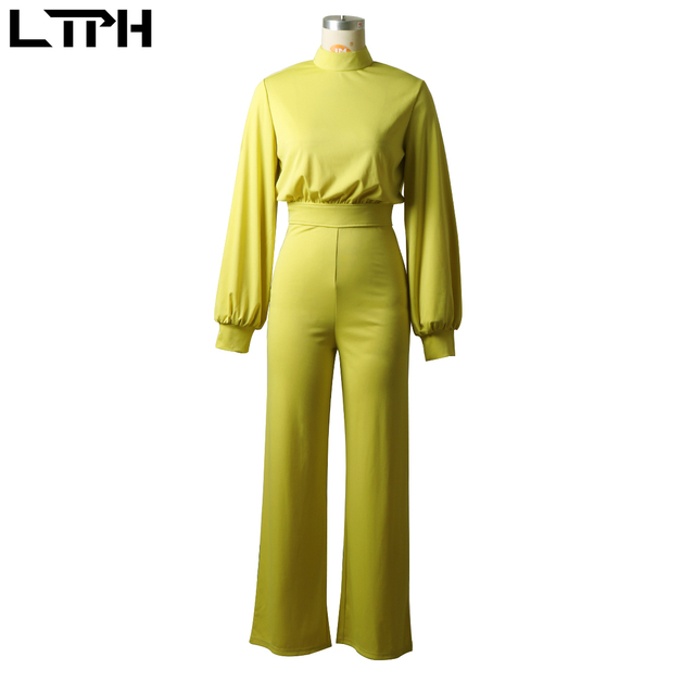 Hot sale 2019 autumn and winter new women jumpsuit Solid knit straight Ful sleeve lhigh collar hollow backless Long Siamese suit 4