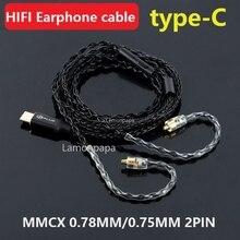 Słuchawki hi fi typ kabla C do Mmcx 0.78mm 0.75mm 2PIN 8 rdzeń dźwięk cyfrowy dekodowanie miedziany kabel słuchawkowy do KZ TRN SHURE QDC
