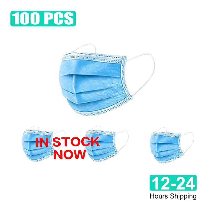 Image 2 - ¡En stock! Entrega rápida 100 Uds mascarilla antipolvo facial desechable con filtro de 3 capas antipolvo antiojeras máscara bucal no tejidaMascarillas   -