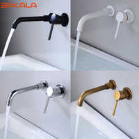 Modern Wall-Mount Mixer Tap Bathroom Sink Faucet Swivel Wall Spout Single Handle Mixer Tap Bath With Single Lever Cover Plinth