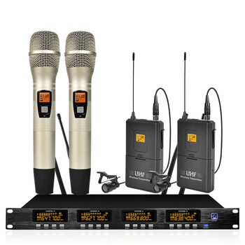 UHF Professional Wireless Microphone Adjustable Frequency Dual Handheld Double Neck Clip Microphone Stage Performance