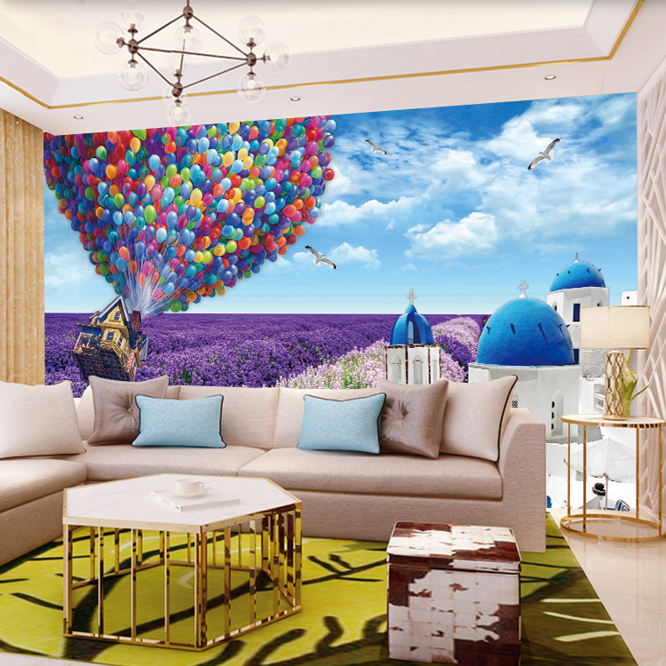 3D Wallpaper Large Seamless Mural Bedroom Living Room Up Global Lavender Castle Scenery Wall