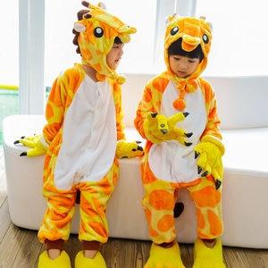 Image 5 - 어린이 크리스마스 잠옷 겨울 따뜻한 플란넬 공룡 잠옷 만화 동물 소년 소녀 모자 새로운 어린이 원피스 잠옷