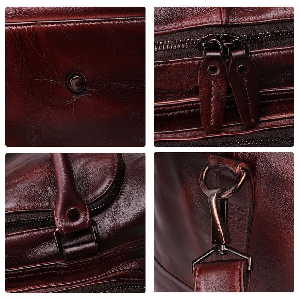 JOYIR sac polochon homme en cuir véritable sac de voyage bagage sac à main homme sac de voyage grande capacité sac à bandoulière en cuir fourre tout homme - 5