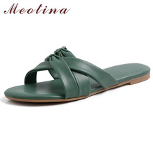 Meotina  Shoes Women Bow Flat Slippers Round Toe Ladies Slides Summer Causal Sandals Female Beige Black Green Size 34-39