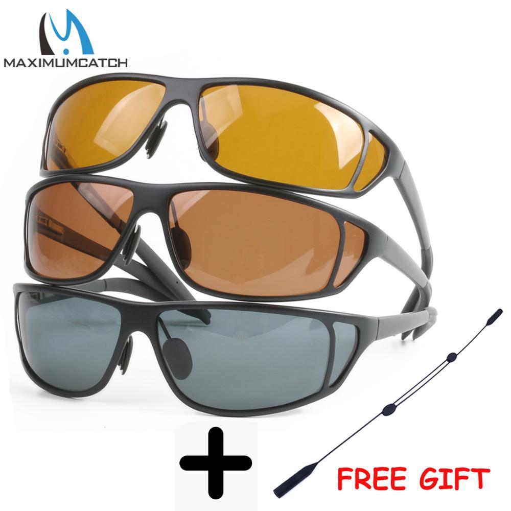 Maximumcatch Titanium Armação de Metal Pesca com Mosca Óculos Polarizados Marrom Amarelo E Cinza Para Escolher Óculos De Sol De Pesca