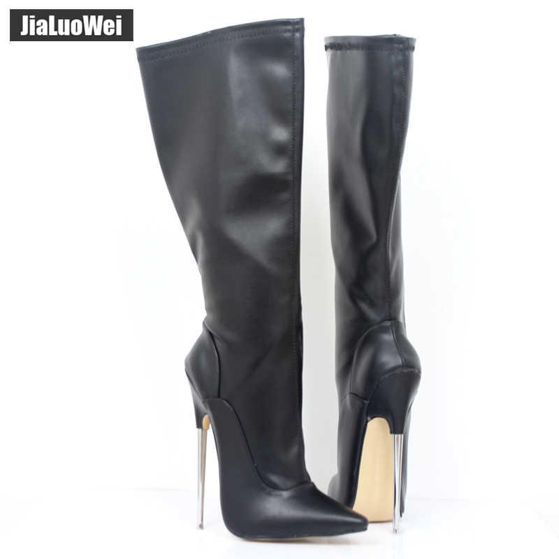 Moda europa américa estilo joelho-alta feita couro de patente do plutônio extremo grosso salto alto bota feminina joelho alto zip sexy sapatos