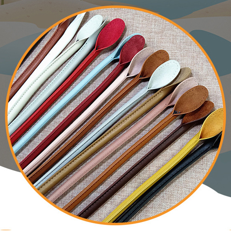 1 Pair Solid Color Bag Strap PU Leather Round Ears Bag Handle Rope Bags For DIY Replaceable Handbag Accessories Hot Sale