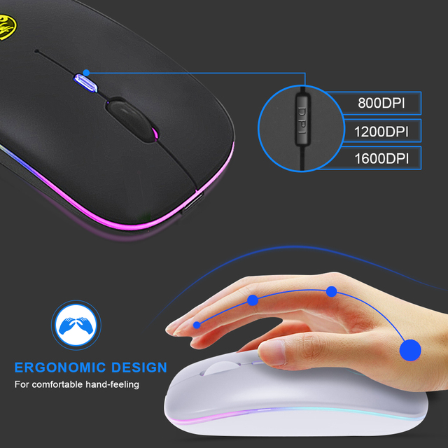 Wireless Mouse RGB Bluetooth Computer Mouse Gaming Silent Rechargeable Ergonomic Mause With LED Backlit USB Mice For PC Laptop 4
