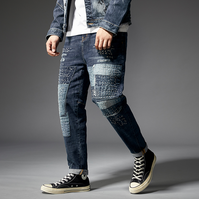 KSTUN Relaxed Tapered Jeans Men Patched Hand Embroiderey Hip hop Biker Jeans Mens Ripped Jeans Streetwear Casual Denim Pants Man 15
