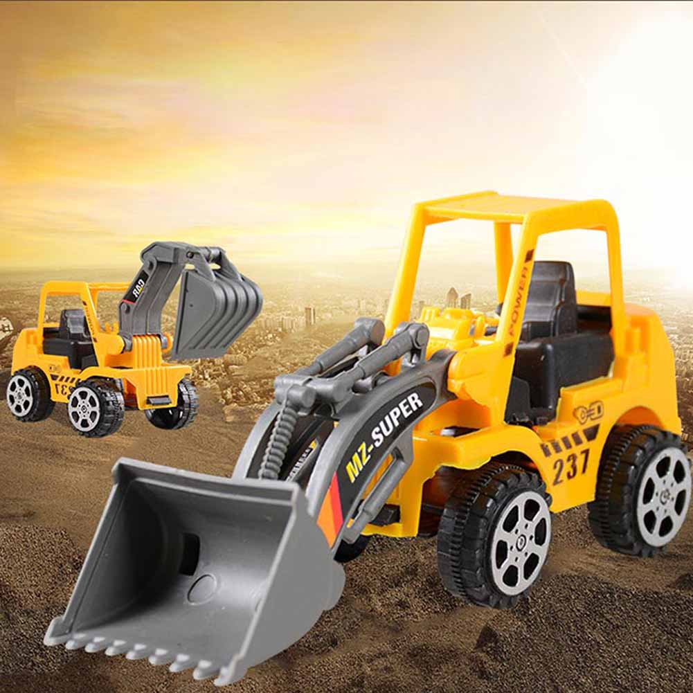 Mini Engineering Vehicle Model Bulldozer Excavator Car Truck Toy Tractor Gift