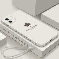 Funda ultradelgada de silicona líquida para iPhone, carcasa de lujo con cordón para iPhone 12 11 Pro SE XS Max XR X 8 7 6 Plus