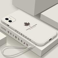 Funda ultradelgada de silicona líquida para iPhone, funda con cordón de lujo para iPhone 13 12 11 Pro XSMax XR SE X 8 7 Plus
