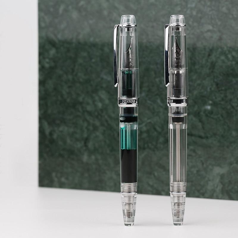 Moonman PENBBS 268 Vacuum Filling Fully Transparent Fountain Pen Resin Iridium Fine Nib 0.5mm Writing Gift Pen Office Supplies