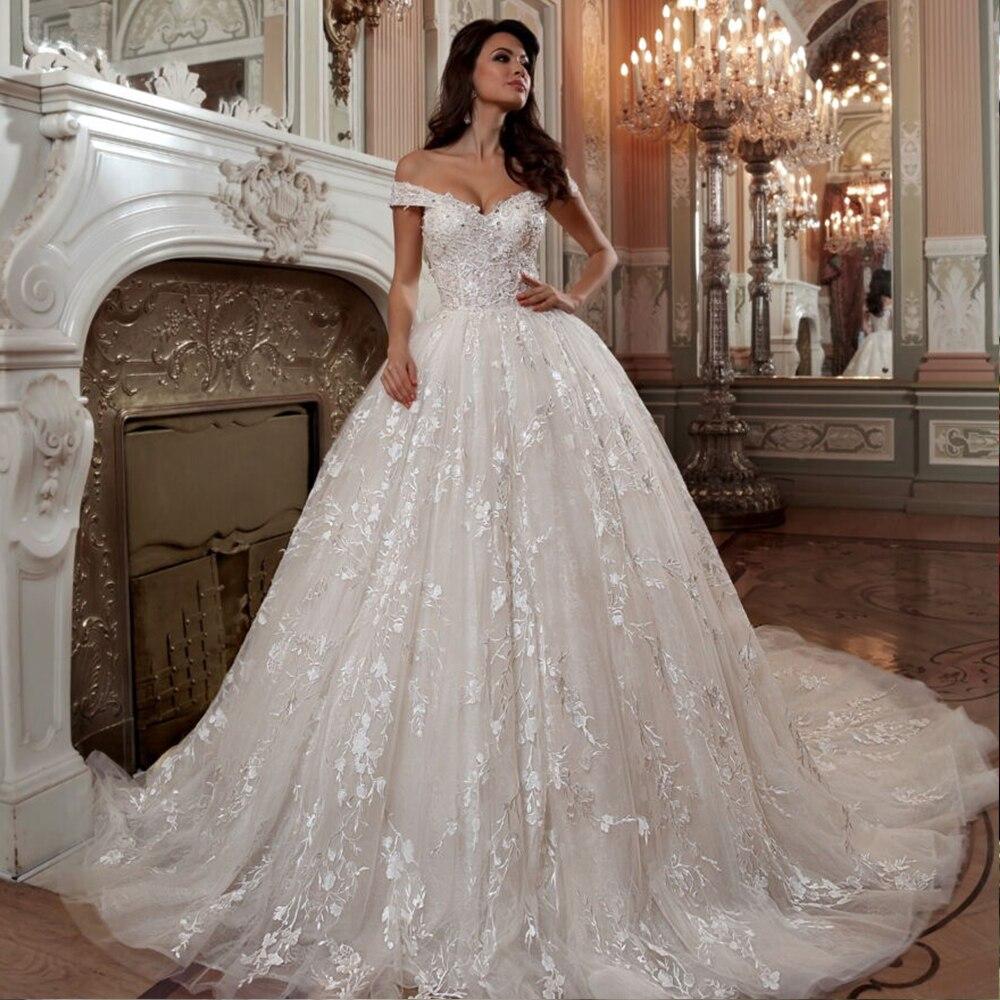 2019 Princess Ball Gown Wedding Dresses Vestido De Noiva Princesa Short Sleeve Beading Sequined Appliques Lace Bride Dress
