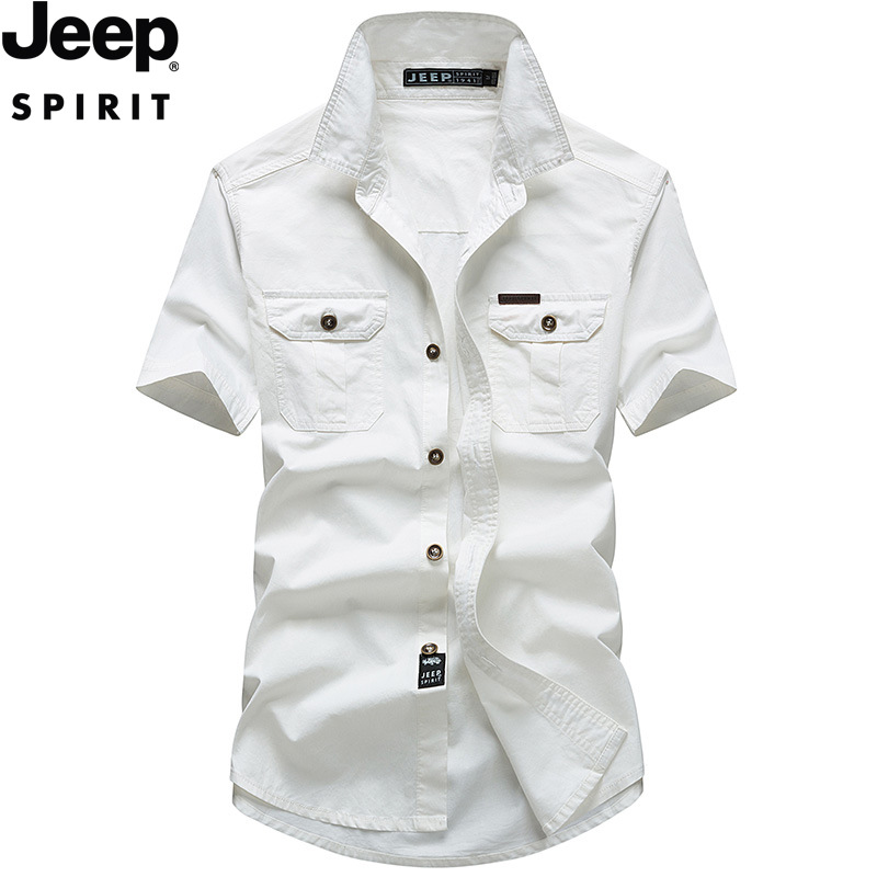 2020 Summer JEEP Men's Cotton Short-sleeved Shirt Fashion Breathable Slim Solid Color Trend Fashion Shirt Clothes