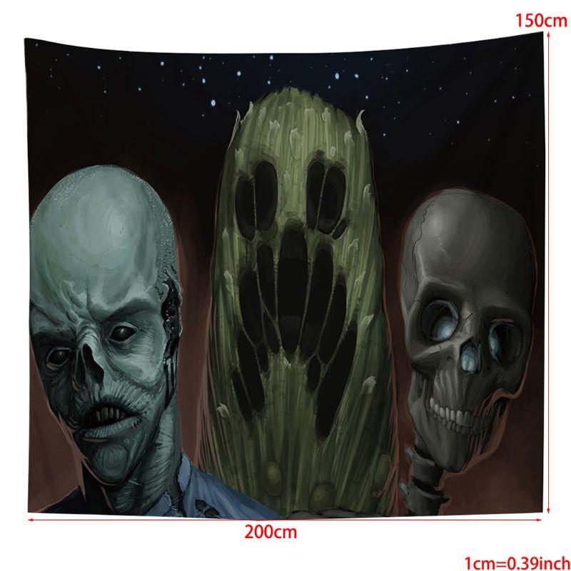 Tapisseries squelette de bande dessinée tous saints Hippy imprimé ethnique tenture murale 23GA