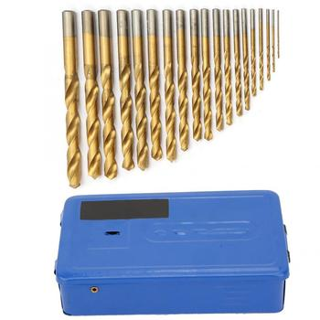 цена на 19Pcs Golden Twist Drill Bits High Speed Steel Straight Shank Drilling Bit Set  with Blue Iron Box 1-10mm Domestic Delivery