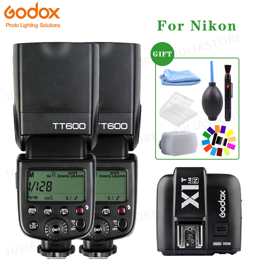2x Godox TT600 XPRO N 2 4G Wireless Camera Flash Speedlite X1T N Transmitter for Nikon