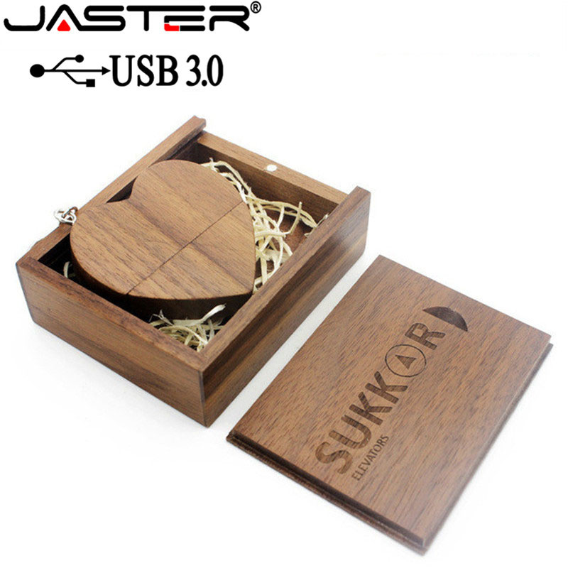 JASTER USB 3.0 With Box Wooden Love Heart Model Usb Flash Drive Memory Stick 64GB 16GB 32GB 4GB Wedding Gifts Free Custom Logo