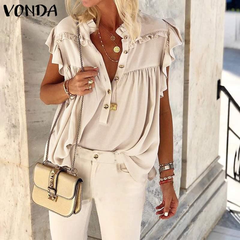 VONDA Women Blouse Bohemian Tunic Casual Stand Collar Sleeveless Shirts 2020 Summer Beach Tops Ladies Work Shirts Plus Size