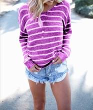 2019 autumn womens T-shirt irregular backless fashion striped long-sleeved
