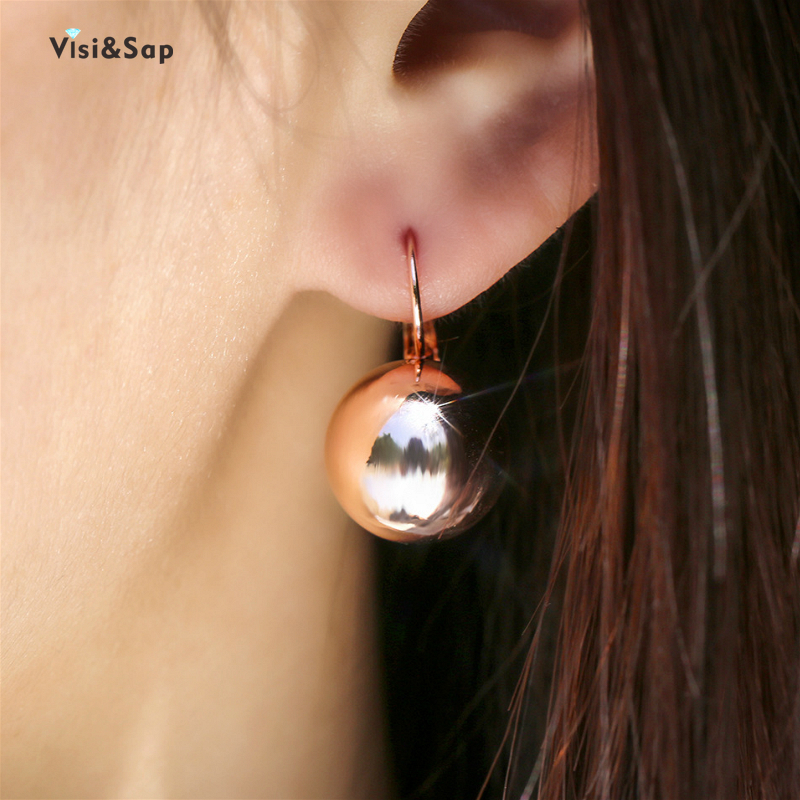 Visisap Creative Simple Exquisite Spherical Earrings For Women Korean OL Style Unique Rose Gold Colour Earring Dropshipping E164