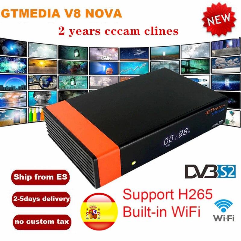 GT Mídia V8 Nova DVB-S2 Freesat H.265 V8 Receptor de Satélite WI-FI Embutido + 2 Ano CCcam Europa Espanha para V8 super youtube