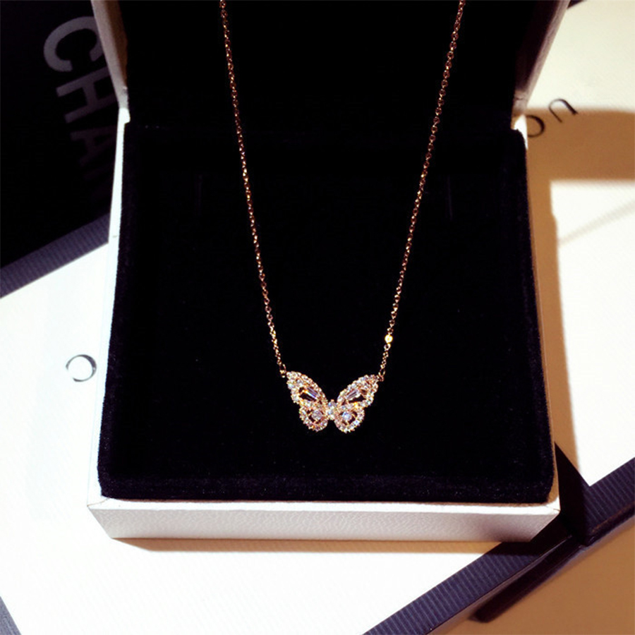Mix Styles Butterfly Statement Necklaces Pendants Woman Chokers Collar Simple Style Hollow Cute Animal Butterfly Clavicle Chains