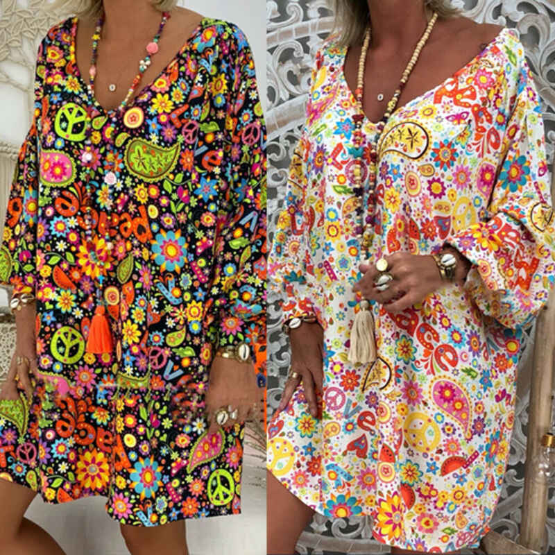 2019 Summer Women Boho Floral Long Sleeve Dress Casual Beach Shirt Dress Ladies Print Mini Dress Plus Size S-3XL