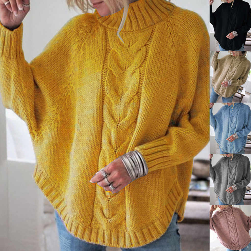 Loose women sweaters and pullovers Solid Sweater Long Sleeve O-Neck  Batwing Sleeve knitting Sweater Tops^40