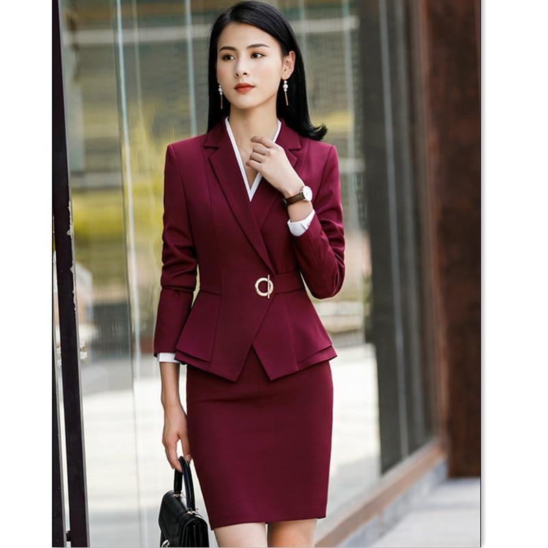 Elegant Women Suit Skirt Office Lady Formal Ruffle Waist Full Sleeve Blazer+Skirt Tights 2 Piece Set Jacket And Skirt Suit