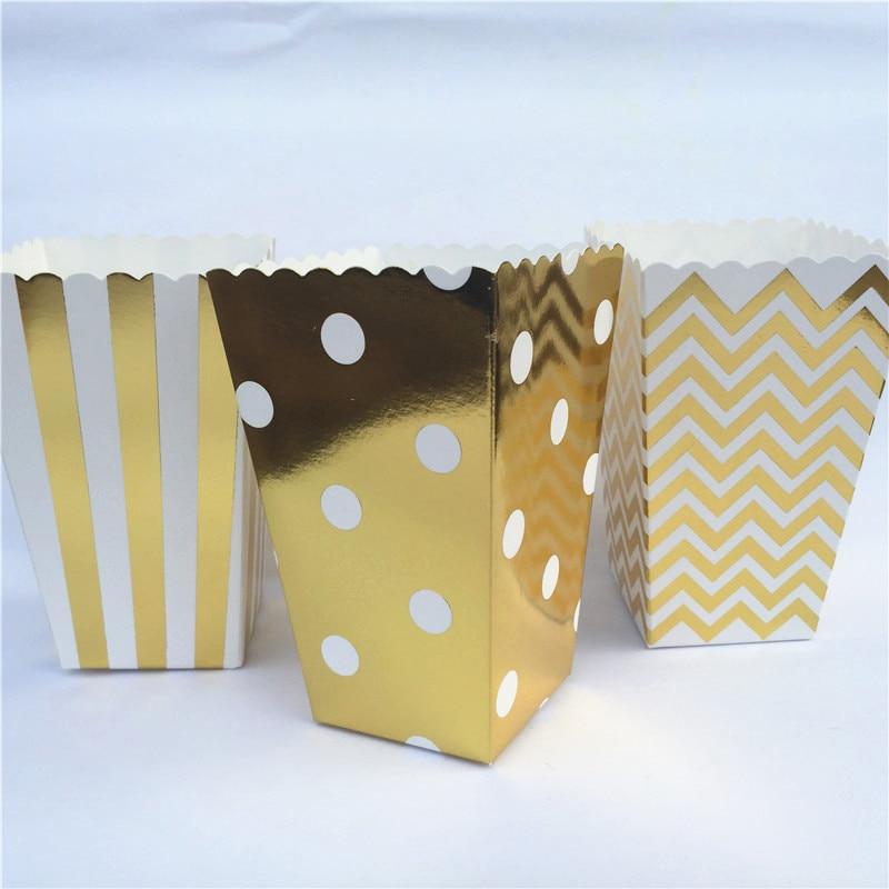 12pcs Gold Silver Dot Wave Stripe Paper Popcorn Gift Box Pop Corn Candy/ Sanck Favor Bag Dragee Wedding Kid Birthday Party Decor