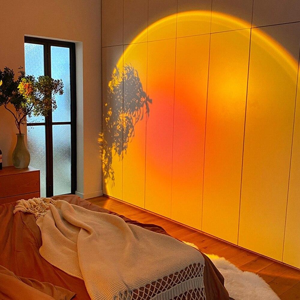 Atmosfera led luz da noite arco-íris pôr do sol lâmpada do projetor para casa coffe loja fundo decoração da parede usb operar lâmpada de mesa