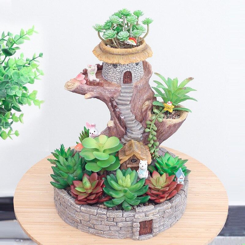 Kreative Kindheit Kaninchen Cartoon Baum Haus Harz Blumentopf Micro Landschaft Zubehör Blumentöpfe Pflanzer Ornamente - 4