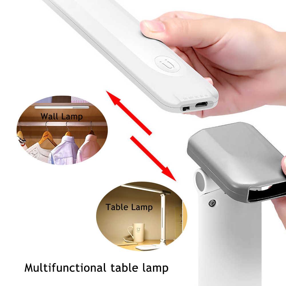 접이식 LED 테이블 램프 충전식 USB 전원 3 색 3 디밍 책상 램프 침실 독서 눈 보호 테이블 야간 조명