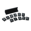 White on Black Adjustable Price Display Tag Label 192 Cubes, 16 Black Base Aluminum Alloy + ABS Plastic Number Labels