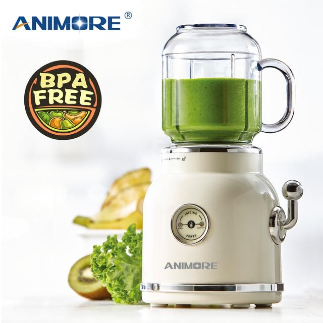 ANIMORE Juice Blender Retro Fruit Juicer Baby Food Milkshake Mixer Multifunction Juice Maker Machine Portable Fruit Blender