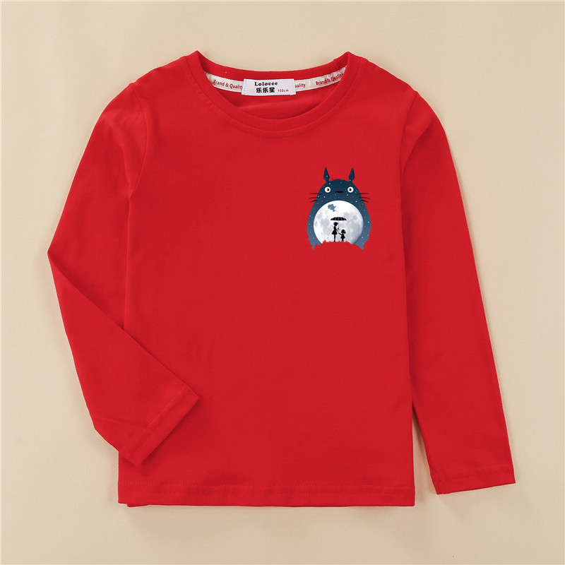 Totoro Tops Kids Autumn Long Sleeve T-shirt 100% Cotton Home Clothes Boys Girls Brands Spring Tees Costume 2