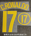 Супер ретро 2004 Чемпионат мира по футболу, Португалия, пятнистый рисунок с номером Роналду, нашивки с горячим тиснением