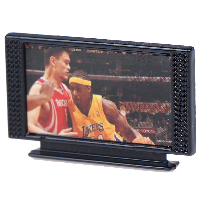 1Set Dollhouse Miniature Wide Screen Television Flat-Panel LCD TV Remote Gray Classic Pretend Play Toys For Child