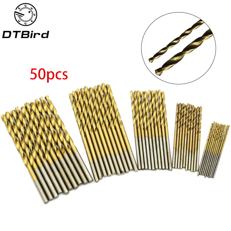 50Pcs HSS 4241 High Speed Steel Drill Bit Set Tool 1mm 1.5mm 2mm 2.5mm 3mm    DT6