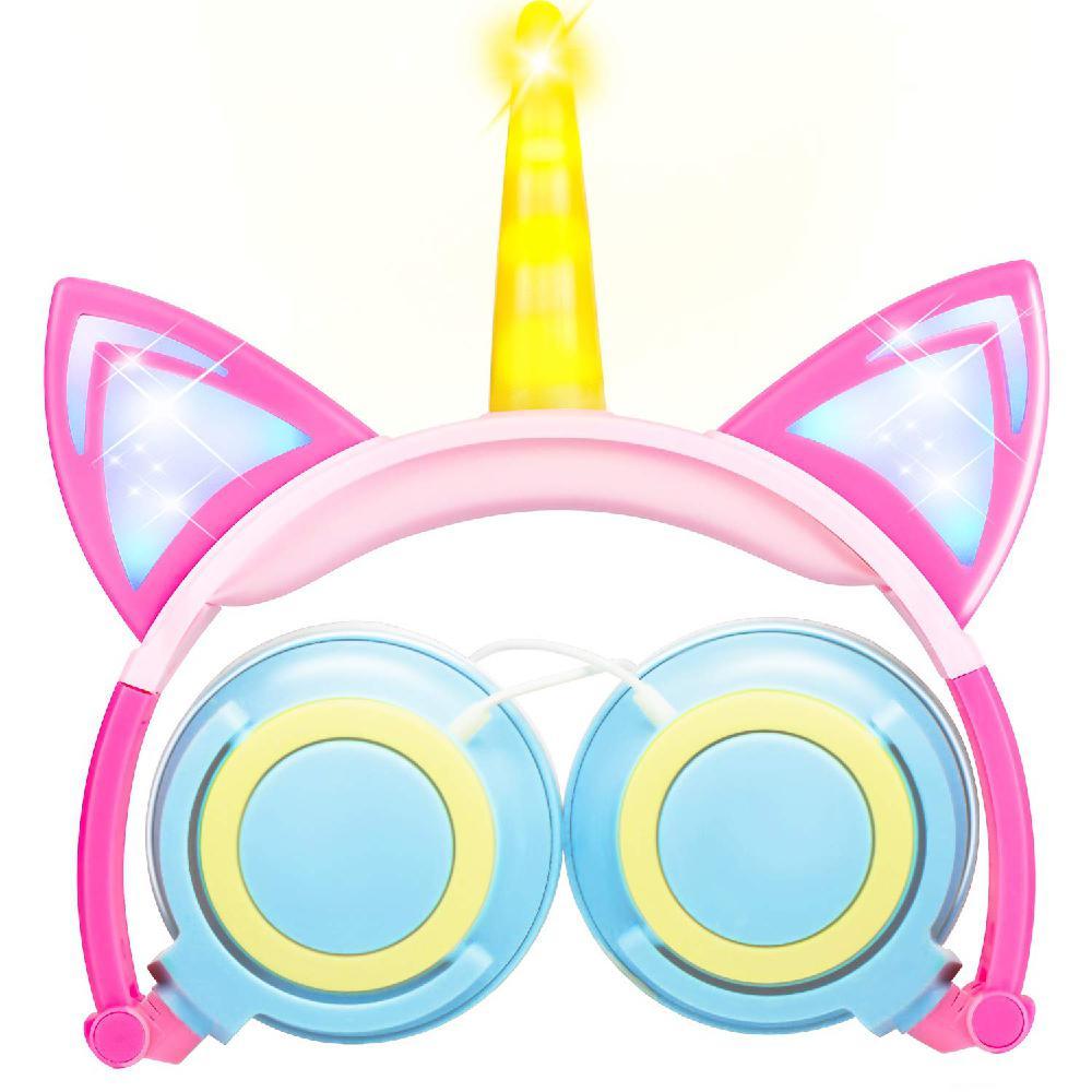 DishyKooker Cute Kids Cat Ear Headphones Wired Adjustable Tablet Kids Headband Earphone Foldable Over On Ear Game Headset